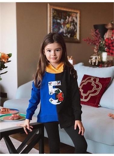 Hilal Akıncı Kids Kiz Çocuk Renklı Parçali Sweatshirt Taytli Ikılı Takim Mavi